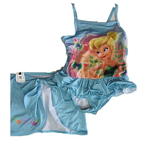 Disney Little Girls Sky Blue Tinker Bell Print Skirt 2 Pc Swimsuit 4T (Tinkerbell Bathing Suit)