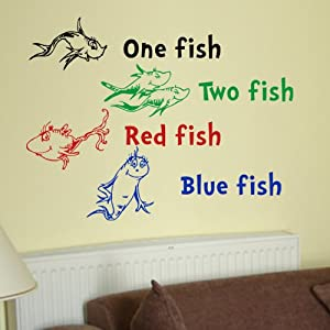 Dr Seuss One Fish Two Fish Red Fish Blue Fish Wall Quote Vinyl Wall Art Decal Sticker from VM Reigns