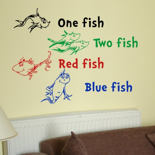 Dr seuss one fish two fish red fish blue fish wall quote for Dr seuss wall mural decals