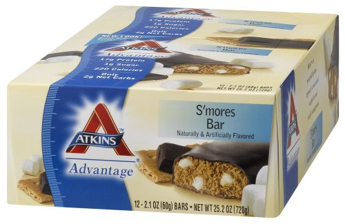 Atkins Advantage Bars, S'mores, 2.1-Ounce Bars (Pack of 12)