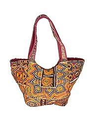Jaipur Textile Hub Golden Color Cotton Shoulder Bag - (50 Cm * 35 Cm)