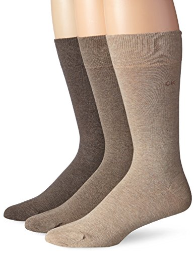 Calvin Klein Men's 3 Pack Combed Flat Knit Socks, Taupe Heather/Wheat Heather/Brown Heather, 7-12 Shoe Size Taupe Mens Socks