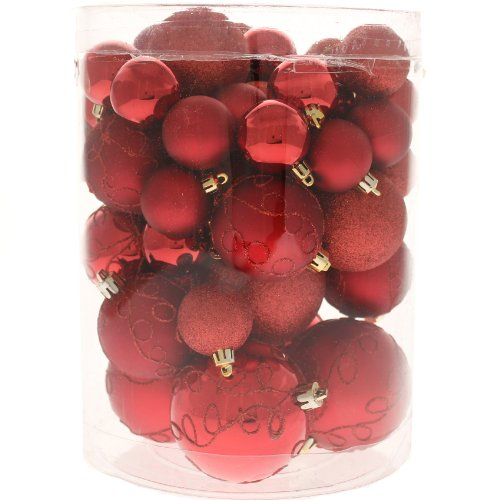 50 Piece Deluxe Christmas Tree Bauble Decoration Pack - Red