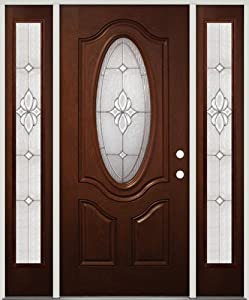 3/4 Oval Mahogany Fiberglass Entry Door with Sidelites #16 Zinc, Left Hand