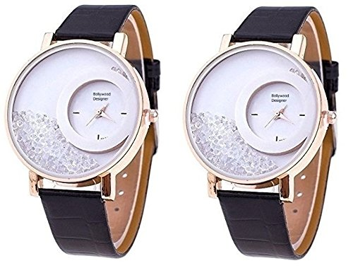 Bollywood Designer Stylish Free Diamond Dial Fancy Leather watch for Girls and Women Pack Of 2