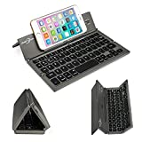 BATTOP Upgrade Foldable Bluetooth Keyboard With Kickstand Universal for IOS Android Windows Gray