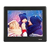 TENKER PF0070 HD Digital Photo Frame IPS LCD Screen with Auto-Rotate/Calendar/Clock Function, Mp3/Photo/Video Player with Remote Control, Black (Tamaño: 7)