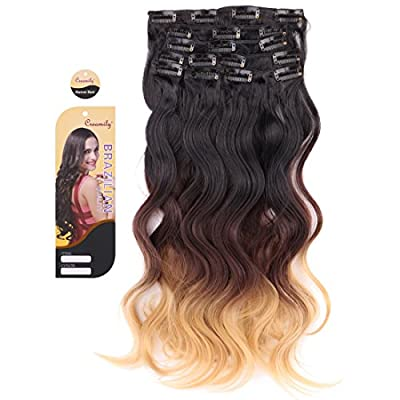"""Creamily® #1B/6/27 (Natural Black to Caramel Blonde) 3-tone Ombre Color Wavy Clip in Hair Extensions 8 Pieces 18"""" for a Full Head"""