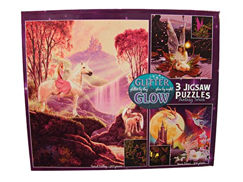 Glitter & Glow 3 Pack Jigsaw Puzzles: 100 - 300 - 500 Pieces - Secret Valley - Moon Dance - Fairy Princess