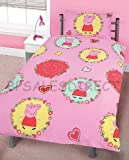 PEPPA PIG SPIRAL KIDS GIRLS REVERSIBLE SINGLE DUVET QUILT COVER BEDDING SET NEW