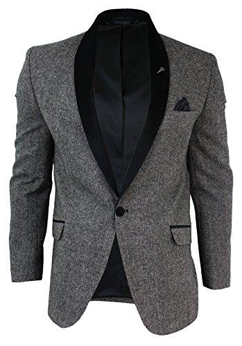 Mens-Herringbone-Tweed-Blazer-Jacket-Round-Shawl-Velvet-Collar-Black-Grey-Slim-Fit