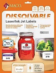 MACO Laser/Ink Jet White Dissolvable Rectangular Labels, 2-1/3 x 3-3/8 Inches, 8 Per Sheet, 40 Per Pack (DL-0805)