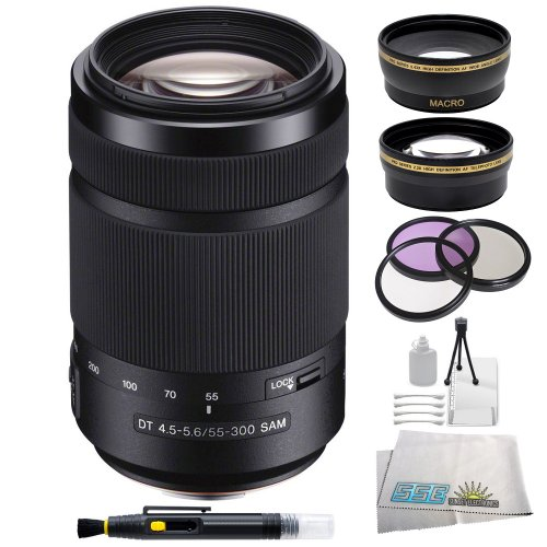 Sony 55-300mm F/4.5-5.6 DT Zoom Lens for Sony Alpha Digital SLR Cameras. Includes 0.45X Wide Angle Lens, 2X Telephoto Lens, 3 Piece Filter Kit (UV-CPL-FLD), Lens Cleaning Pen, Table Top Tripod, LCD Screen Protectors & Cleaning Kit