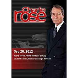 Charlie Rose - Mario Monti, Prime Minister of Italy / Laurent Fabius (September 26, 2012)