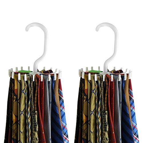 Evelots 20 Hook Tie Hangers, 40 Holders Total Storage Rack,2 Pack,White Or Black (Ties Storage compare prices)