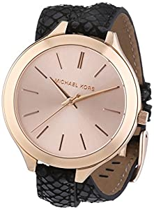 Michael Kors MK2322 43mm Stainless Steel Case Black Leather Mineral Women's Watch