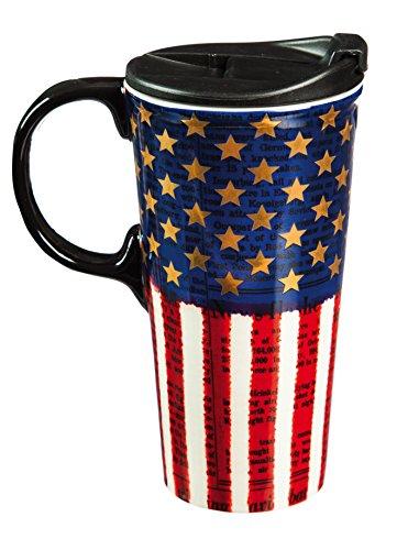 Cypress Home Ceramic Americana Travel Coffee Mug, 17 ounces