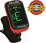 Lifetime Warranty AxeRig Tuner for Acoustic, Bass, Guitar & All-Instruments - Clip-On with Spare Battery Its the Best - Lifetime Warranty