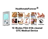 FDA cleared TENS unit HM10AB (Silver) HealthmateForever 10 modes 2in1 dual AB channels, portable full body handheld palm digital pain relief products impulse massager electronic pulse micro mini nano massagers for Electrotherapy Pain Management -- Pain Relief Therapy : Chosen by Sufferers of Tennis Elbow, Carpal Tunnel Syndrome, Arthritis, Bursitis, Tendonitis, Plantar Fasciitis, Sciatica, Back Pain, Fibromyalgia, Shin Splints, Neuropathy and other Inflammation Ailments. Lifetime Warranty