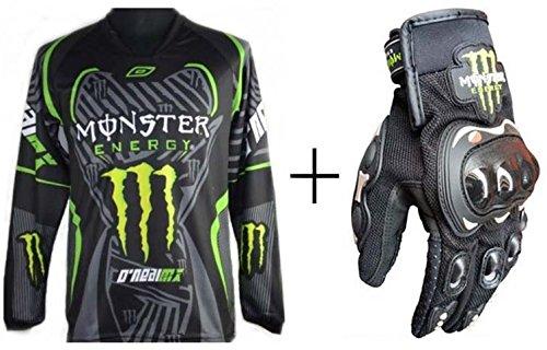 オートバイ バイク用品 バイクウェア プロテクション レーシングスーツ 長袖TシャツTシャツ一枚+グローブ一双 (TシャツL + グローブL)