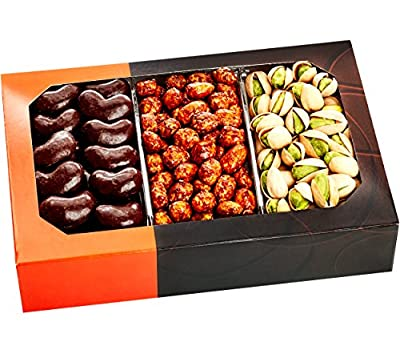 Gourmet Food Nuts Chocolate Holiday Gift Basket, 3 Different Delicious Nuts! Kosher, Vegan, Vegetarian Friendly Gift Tray. Perfect for Any Occasion, Love It or Its Free! -Five Star Gift Baskets