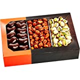 Gourmet Food Nuts Chocolate Gift Basket, 3 Different Delicious Nuts! Kosher, Vegan, Vegetarian Friendly Gift Tray. Perfect for Any Occasion, Love It or Its Free! -Five Star Gift Baskets