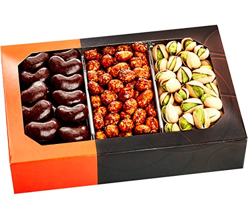 Gourmet Food Nuts Chocolate Holiday Gift Basket, 3 Different Delicious Nuts! Kosher, Vegan, Vegetarian Friendly Gift Tray. Perfect for Any Occasion, Love It or Its Free! -Five Star Gift Baskets (Gift Baskets Kosher compare prices)