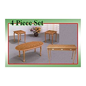 4 Piece Oak Coffee Table & 2 End Tables Set with Sofa Table