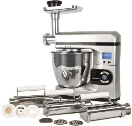 Andrew James Ultimate Silver Food Mixer Package Includes:- Silver 7 Litre Food Mixer With Meat Grinder Attachment And Pasta Maker Attachment