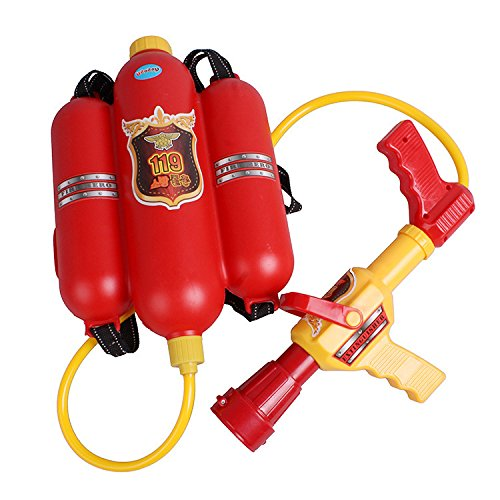 Agooding Firefighter Water Back Pack Blaster Water Pistol Gun Toys Red