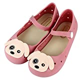 iFANS Girls Princess Jelly Shoes Mary Jane Flats Cute Dog For Toddler Little Kids