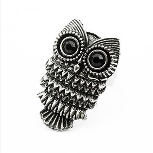 Adjustable Vintage Retro Nickel Silver Pewter Owl Ring