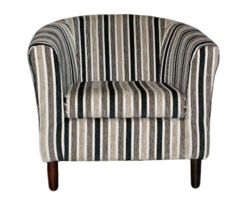 Stripe Fabric Tub Chair-Black, White & Charcoal