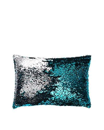 Aviva Stanoff Design Sequined Mermaid Lumbar Pillow, Turquoise/Silver