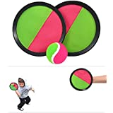 "Toy Cubby Velcro Ball Paddle Catch And Toss Game Set 7"" Handheld Stick Disc 1 Set"