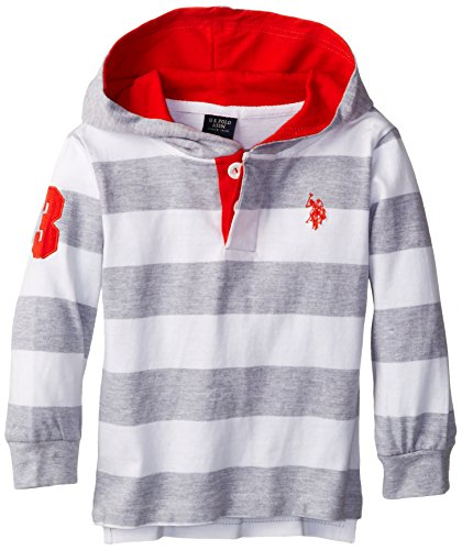 U.S. Polo Assn. Boy'S Stripe Jersey Knit Hooded Rugby Pullover, Light Heather Gray, 2T