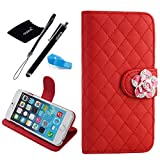 For Apple iPhone 6 Plus case, Camellia Diamond Crystal Designed with PU Leather Lady Style For Apple iPhone 6 Series (iPhone 6Plus(5.5-Inch), Red)