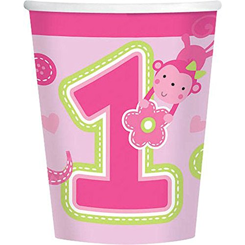 One Wild Girl 1st Birthday 9oz Cups (8 Pack) - Party Supplies