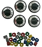 5 Pcs Electric Range Knob Set Replacement Black with Silver Overlay