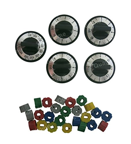 5 Pcs Electric Order Knob Set Replacement Black with Silver Overlay
