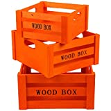 JAM Paper® Nested Wood Crates - Orange Decorative Wooden Crate Set with Handles - 3 Wooden Boxes per Set