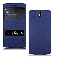 Pudini Goldsand Series Flip Case Cover for OnePlus One - Blue - Free Screenguard