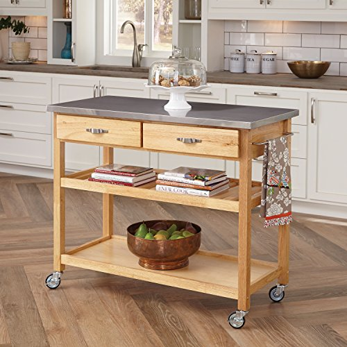 Home Styles Natural Designer Utility Cart with Stainless Steel Top (Bakers Table compare prices)