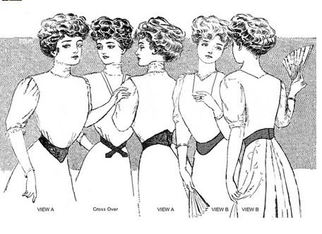 1890s-1905 Edwardian Gibson Girl Era Clothing Links 1901-1909 Edwardian Dip-Waist Belts Pattern                               $12.95 AT vintagedancer.com