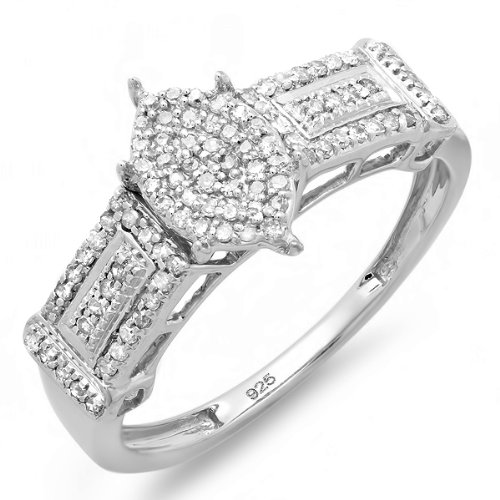 0.30 Carat (ctw) Sterling Silver Round Diamond Ladies Promise Ring Marquise Shaped Center Frame
