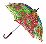 Vintage Handmade Embroidery Work Design Decorative Cotton Umbrella 24 x 28 Inches