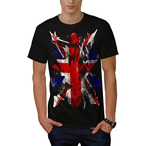Rock roll Gran Bretagna Chitarra Uomo Nuovo Nero T-Shirt L | Wellcoda
