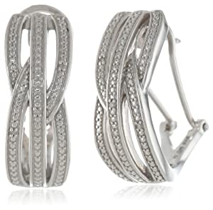 """Sterling Silver Diamond Straight Front Middle Intercrossed Omega Back """"J"""" Hoop Earrings (0.02 Cttw, H-I Color, I2 Clarity) from Max Color, LLC"""