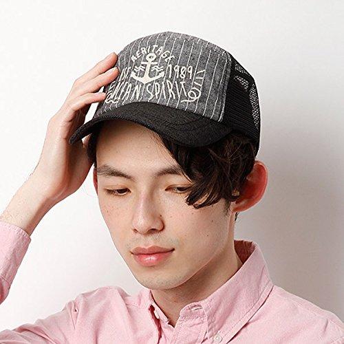 カスターノ(CASTANO) 帽子(ストライプメッシュキャップ)【ブラック/**】