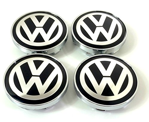 Set of 4 VW Alloy Wheels Centre Hub Caps Cover Black Logo Badge 60mm Fits Volkswagen Lupo Polo Golf Jetta Scirocco Passat Sharan and Other Models